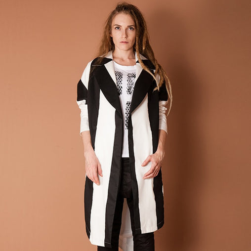 Black And White Striped Cotton Coat