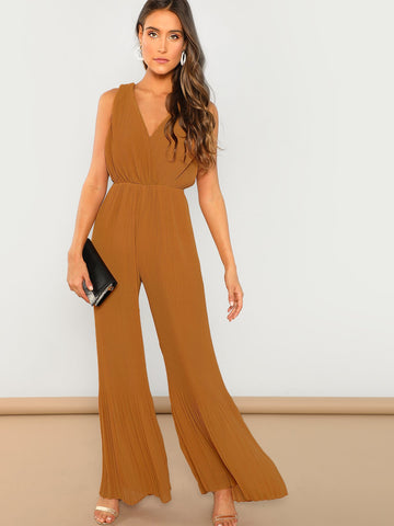 Jumpsuits - Women's Trendy Mustard Vneck Pleated Wide Leg Sleeveless Jumpsuit