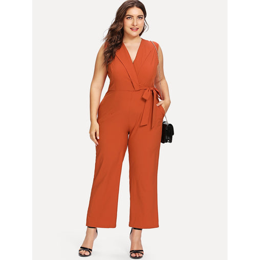 Plus Size Orange Knot Side Jumpsuit