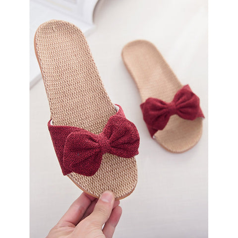 Red Bow Casual Slippers