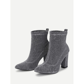 Almond Toe Block Heeled Ankle Boots - Fashiontage