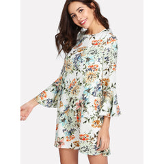 Allover Botanical Print Flounce Sleeve Dress - Fashiontage