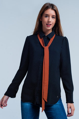 Black Polka Dot Polyester Blouse