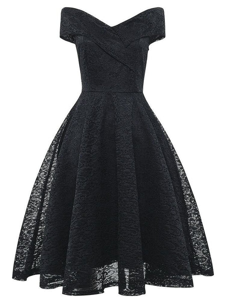 Black Off The Shoulder Flare Lace Midi Dress