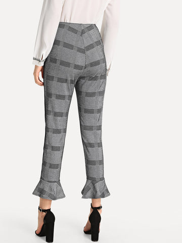 Leggings - Women's Trendy Grey Striped Print Flare Leg Pants