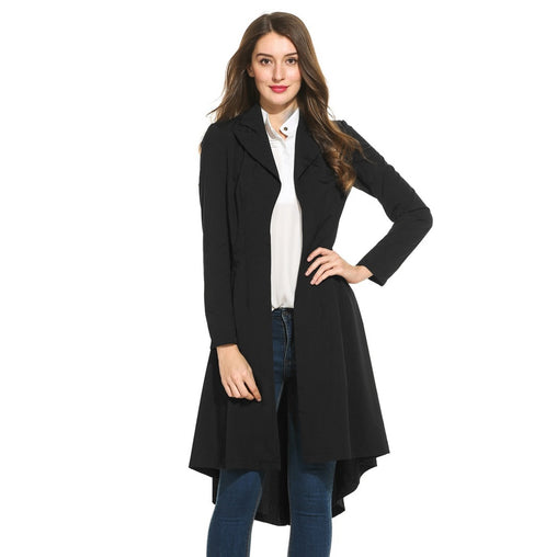 Black Collar Long Sleeve Trench Coat