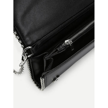 Black Metal Ball Trim Chain Bag