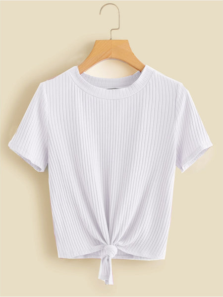 Knot Front Solid Ribbed T-Shirt