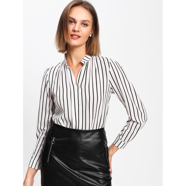 Black And White Pinstriped V-Neckline Top