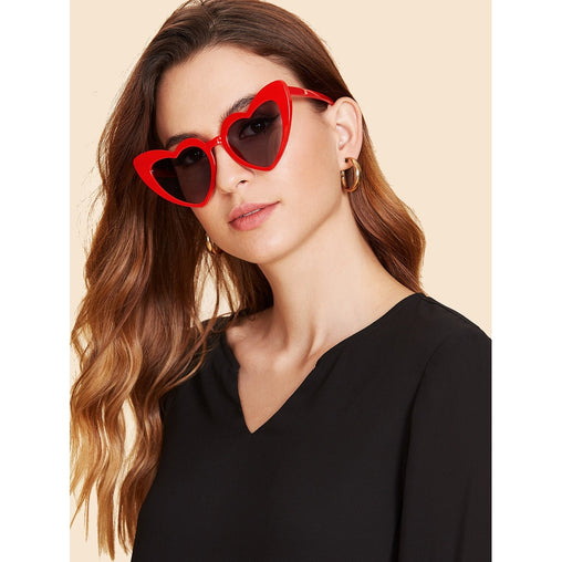 Red Heart Shaped Frame Sunglasses