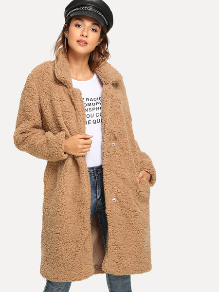 Plus Size Camel Shawl Collar Solid Teddy Outerwear