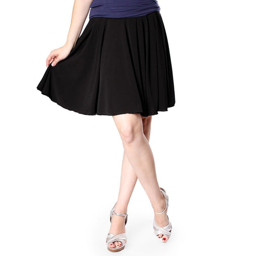 Black Pleated Knee Length A Line Skirt