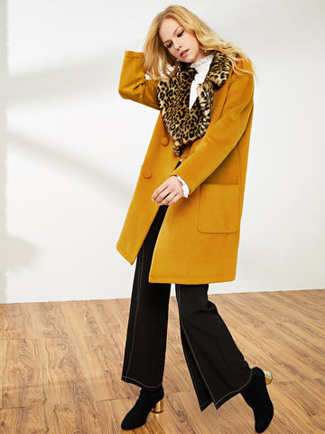 Coats - Women's Trendy Ginger Exaggerate Leopard Print Collar Double Breasted Coat
