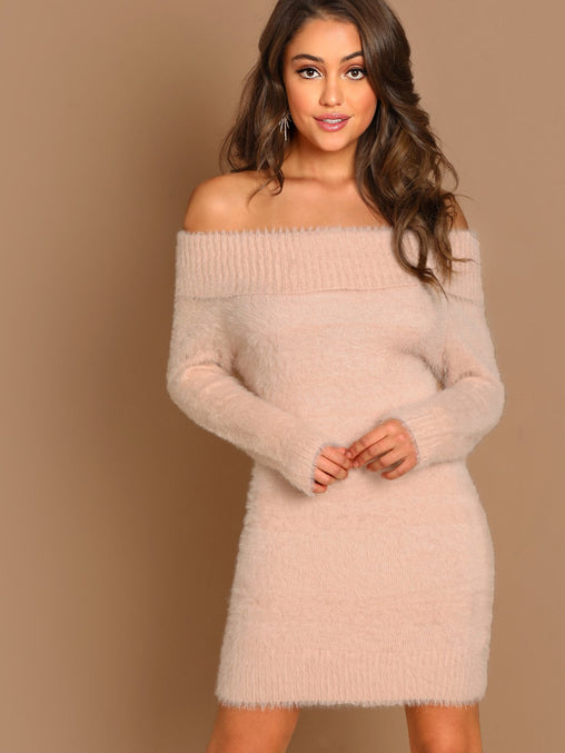 Pink Off The Shoulder Fuzzy Long Sleeve Mini Dress