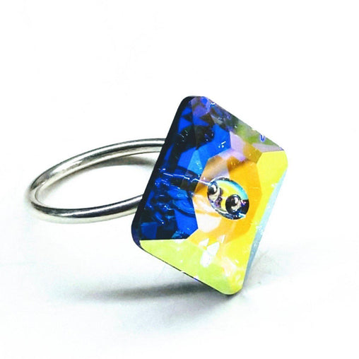 Sterling Silver Swarovski Crystal Shank Button Ring