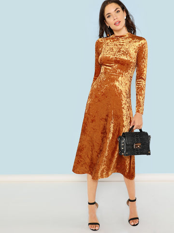 Brown Ruched Wrap Neck Fit And Flare Dress