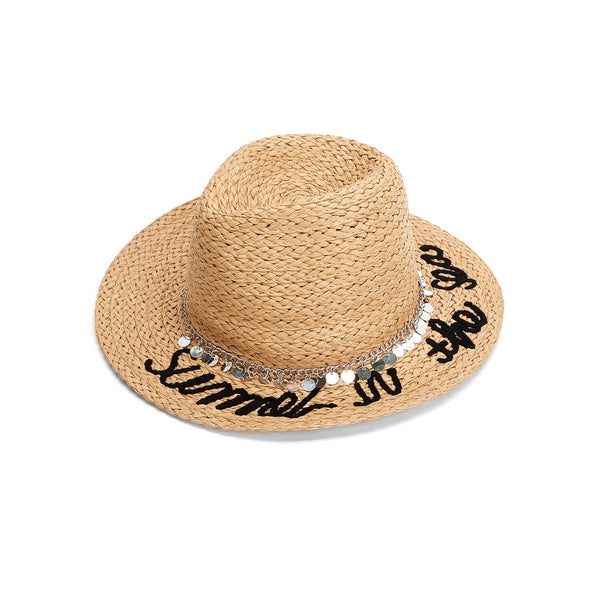- Women's Trendy Apricot Chain Decorated Straw Fedora Hat