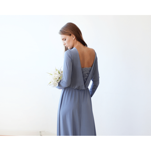 Blue Boat Neck Long Sleeve Maxi Dress- Bridesmaid Bridal Dress