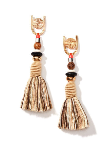 Earrings - Women's Trendy Beige Gold Plated Round Tassel Earring