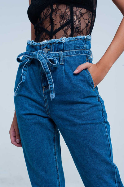 Plus Size Blue Frayed Pocket Jeans