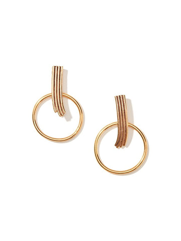 Earrings - Women's Trendy Gold Plated Round Drop Earring