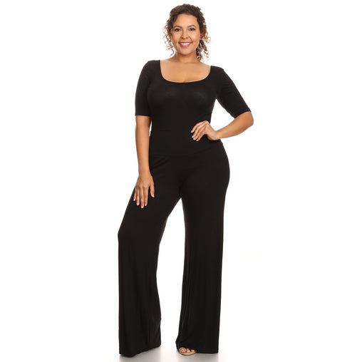 Plus Size Black High Waist Loose Fit Palazzo Pant