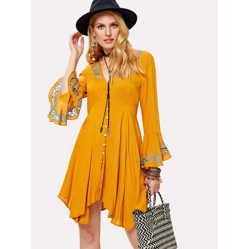 Yellow V-Neck Embroidered Hem Dress