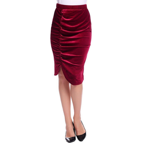Asymmetric & Draped Skirts - Women's Trendy Black Knee Length High Waist Asymmetric Skirt