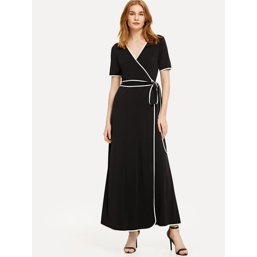 Black Contrast Binding Belted Wrap Dress