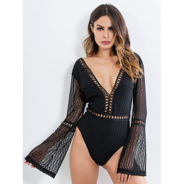Black Deep V-Neck Long Sleeve Bodysuit