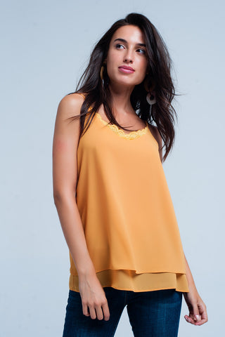 Bras - Women's Trendy Mustard Cami Top With Lace Insert