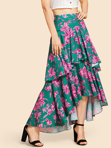 Multicolor Tiered Layer Floral Print Dress