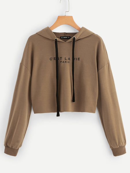 Neutral Drop Shoulder Letter Hoodie
