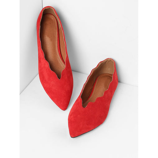 Red Scalloped Trim Pointed Toe Flats