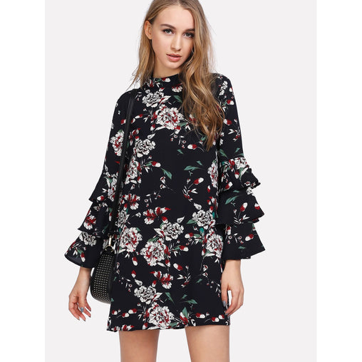 Multicolor Stand Collar Long Sleeve Floral Print Short Shift Dress - Fashiontage