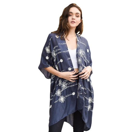Embroidered Navy Blue Open Kimono