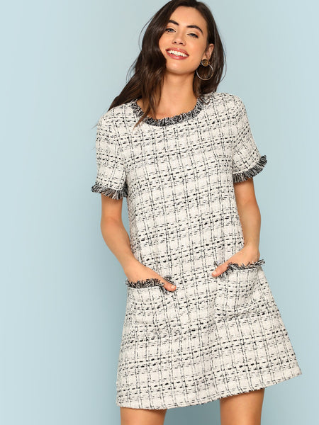 Grey Frayed Edge Button Detail Tweed Dress