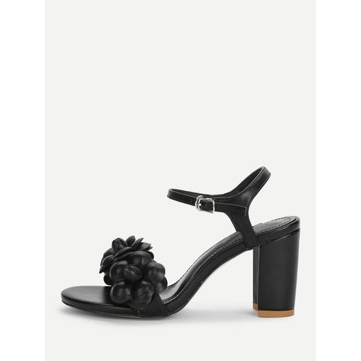 Black Flower Print Decorated Block Heeled Sandals