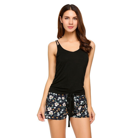 Jean Shorts - Women's Trendy Black Polyester Print Pajamas