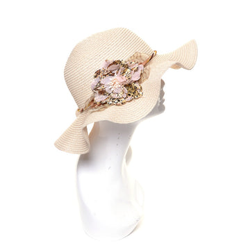 Beige Flower Print Accent Straw Hat