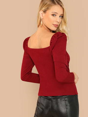 Casual Dresses - Women's Trendy Burgundy Ginger Lace Contrast Bell Sleeve Solid Dress