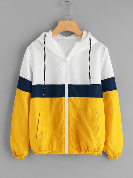 Color Block Elastic Waist Drawstring Jacket