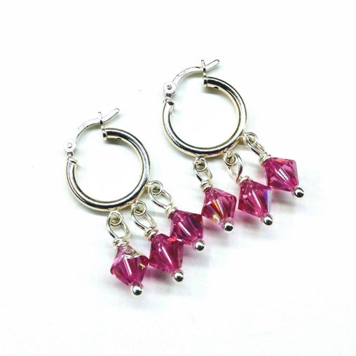 Sterling Silver Hoop Pink Crystal Dangle Earrings