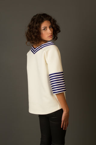 Blouses - Women's Trendy White Collar Sleeves Sweater