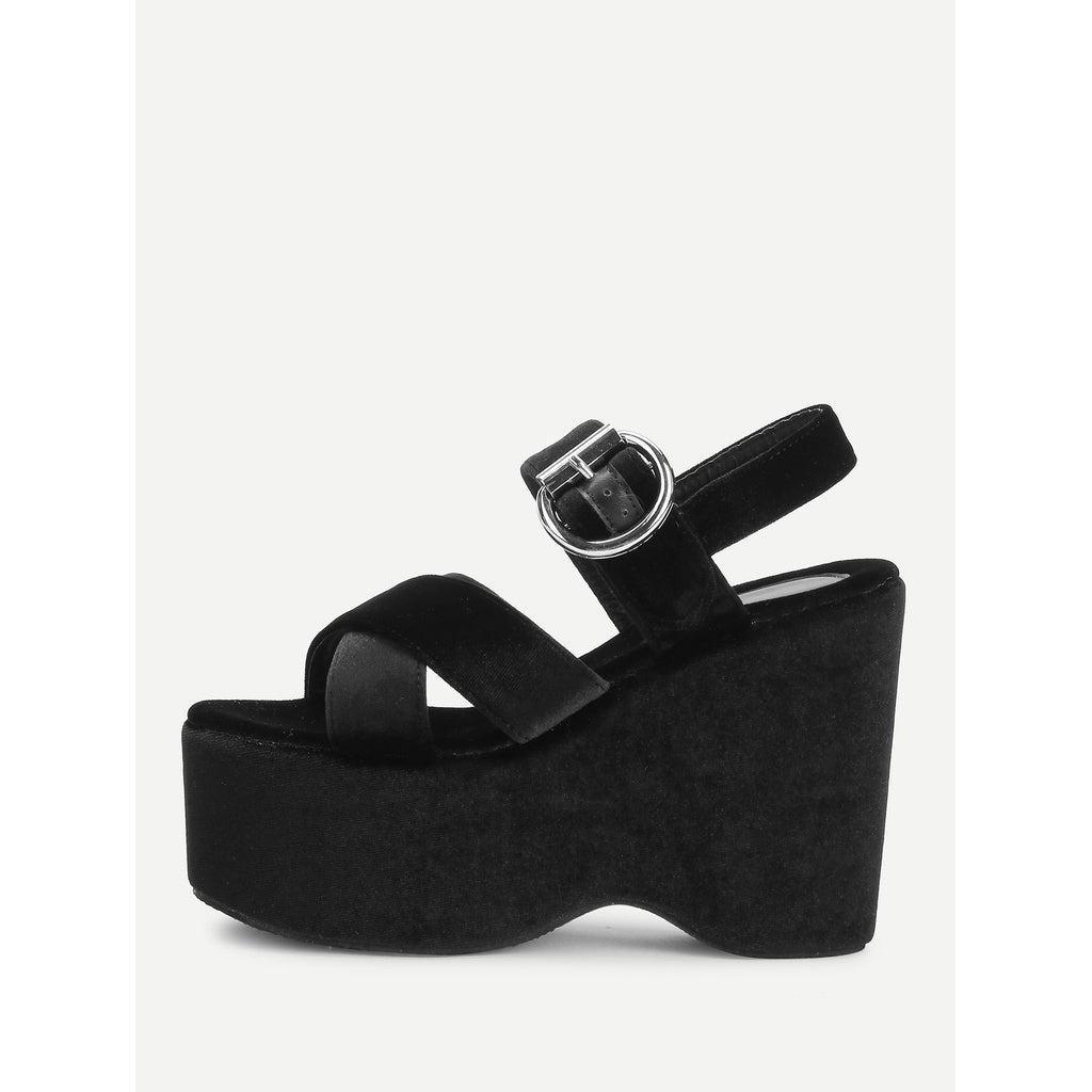 Black Criss Cross Velvet Platform Wedges