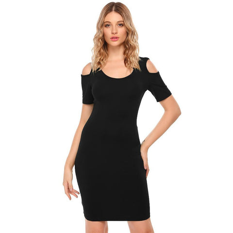 Cocktail & Party Dresses - Women's Trendy Black Collar Short Sleeve Cocktail Dress