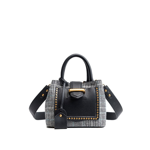 Black Studded Decor Houndstooth Shoulder Bag - Fashiontage