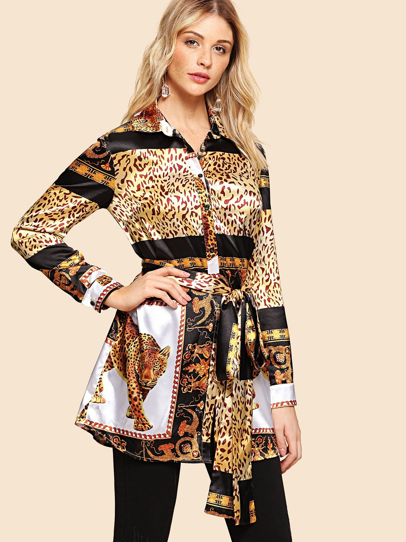 ae72ea5f79e9 Shirts - Women's Multicolor Leopard Print Self Belted Shirt at ...