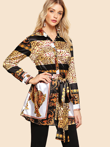 Shirts - Women's Trendy Multicolor Leopard Print Self Belted Shirt