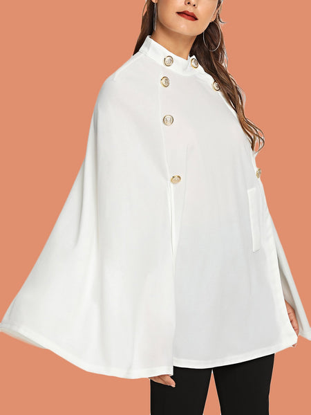 Plus Size Black Double Button Mock Poncho Coat